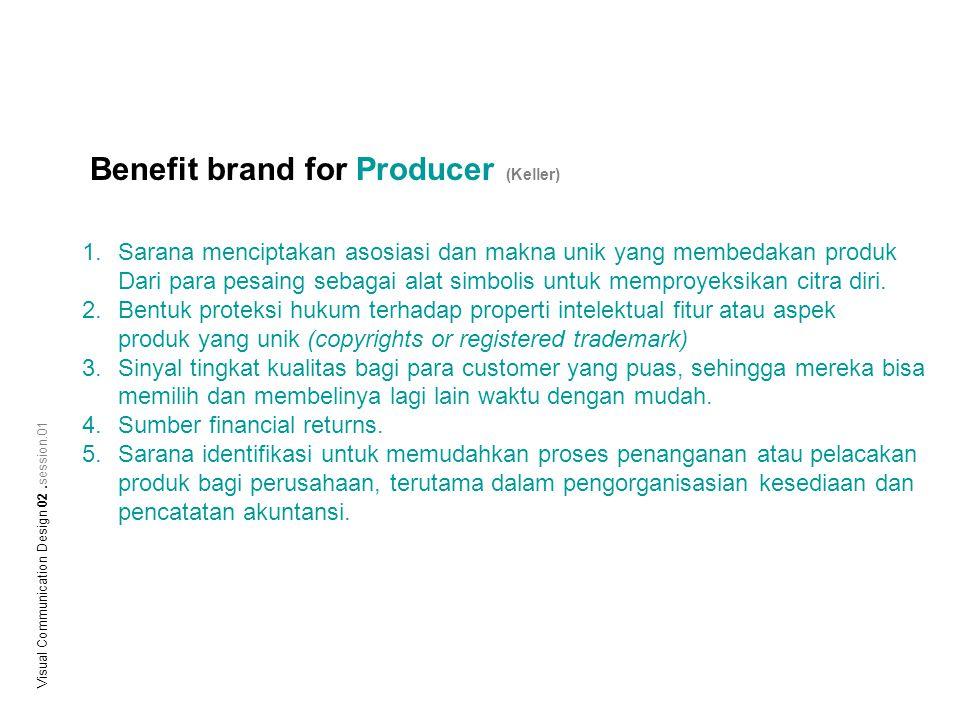 Benefit brand for Producer (Keller) 1.Sarana menciptakan asosiasi dan makna unik yang membedakan produk Dari para pesaing sebagai alat simbolis untuk