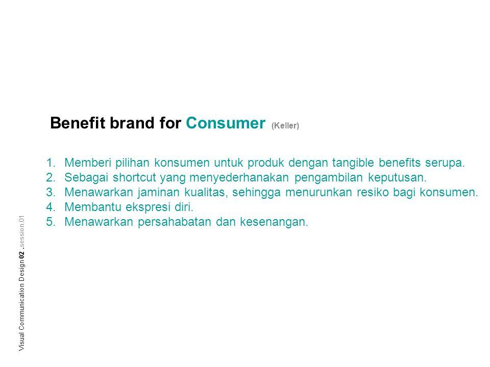 Benefit brand for Consumer (Keller) 1.Memberi pilihan konsumen untuk produk dengan tangible benefits serupa. 2.Sebagai shortcut yang menyederhanakan p
