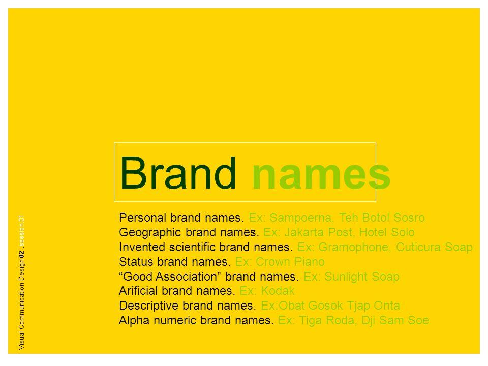 Brand names Personal brand names. Ex: Sampoerna, Teh Botol Sosro Geographic brand names. Ex: Jakarta Post, Hotel Solo Invented scientific brand names.