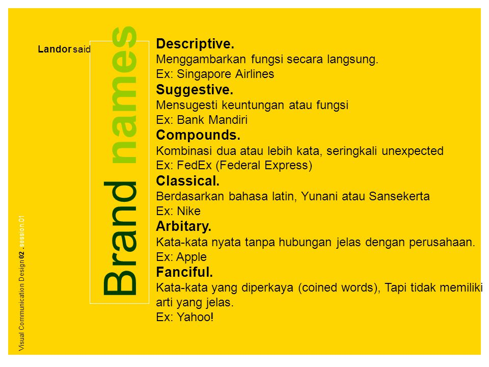 Brand names Descriptive. Menggambarkan fungsi secara langsung. Ex: Singapore Airlines Suggestive. Mensugesti keuntungan atau fungsi Ex: Bank Mandiri C