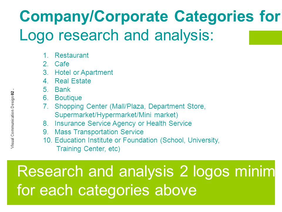 Company/Corporate Categories for Logo research and analysis: 1. Restaurant 2. Cafe 3. Hotel or Apartment 4. Real Estate 5. Bank 6. Boutique 7. Shoppin