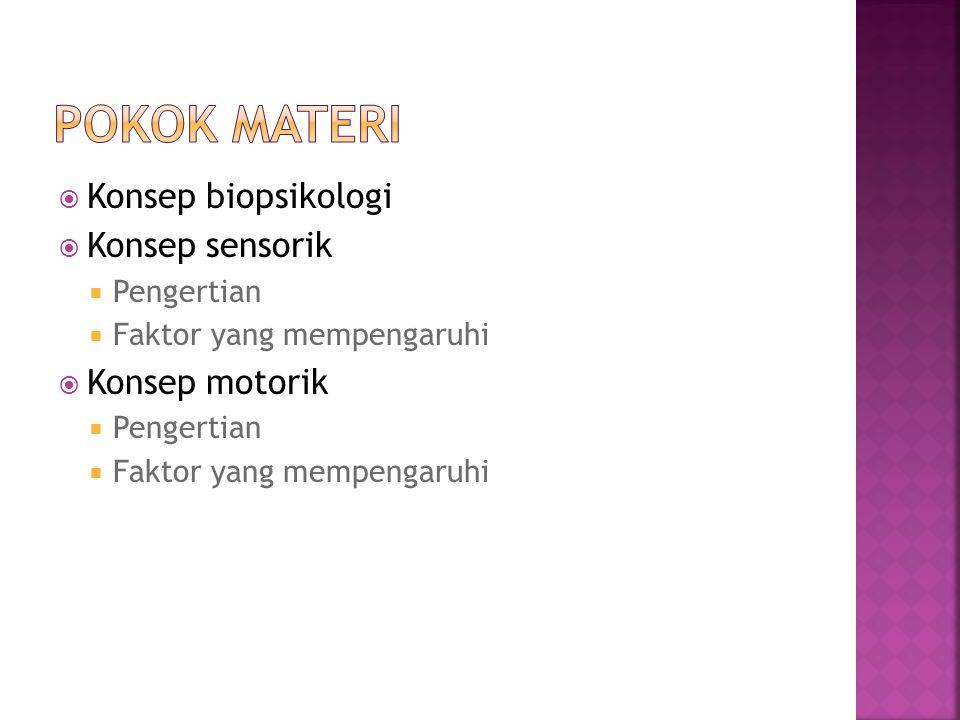  Konsep biopsikologi  Konsep sensorik  Pengertian  Faktor yang mempengaruhi  Konsep motorik  Pengertian  Faktor yang mempengaruhi