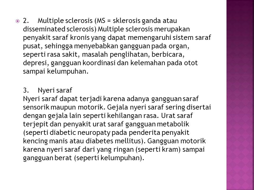  2. Multiple sclerosis (MS = sklerosis ganda atau disseminated sclerosis) Multiple sclerosis merupakan penyakit saraf kronis yang dapat memengaruhi s