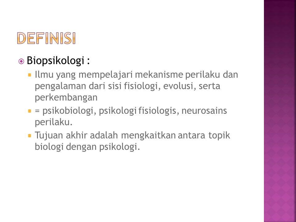  Biopsikologi :  Ilmu yang mempelajari mekanisme perilaku dan pengalaman dari sisi fisiologi, evolusi, serta perkembangan  = psikobiologi, psikolog