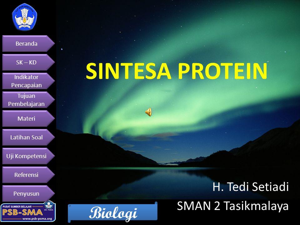 Beranda SK – KD Indikator Pencapaian Indikator Pencapaian Tujuan Pembelajaran Tujuan Pembelajaran Materi Latihan Soal Uji Kompetensi Referensi Penyusun Biologi Memahami penerapan konsep dasar dan prinsip hereditas serta implikasinya pada Salingtemas Standar Kompetensi Menjelaskan hubungan gen (DNA) – RNA – polipeptida dan sintesis protein.