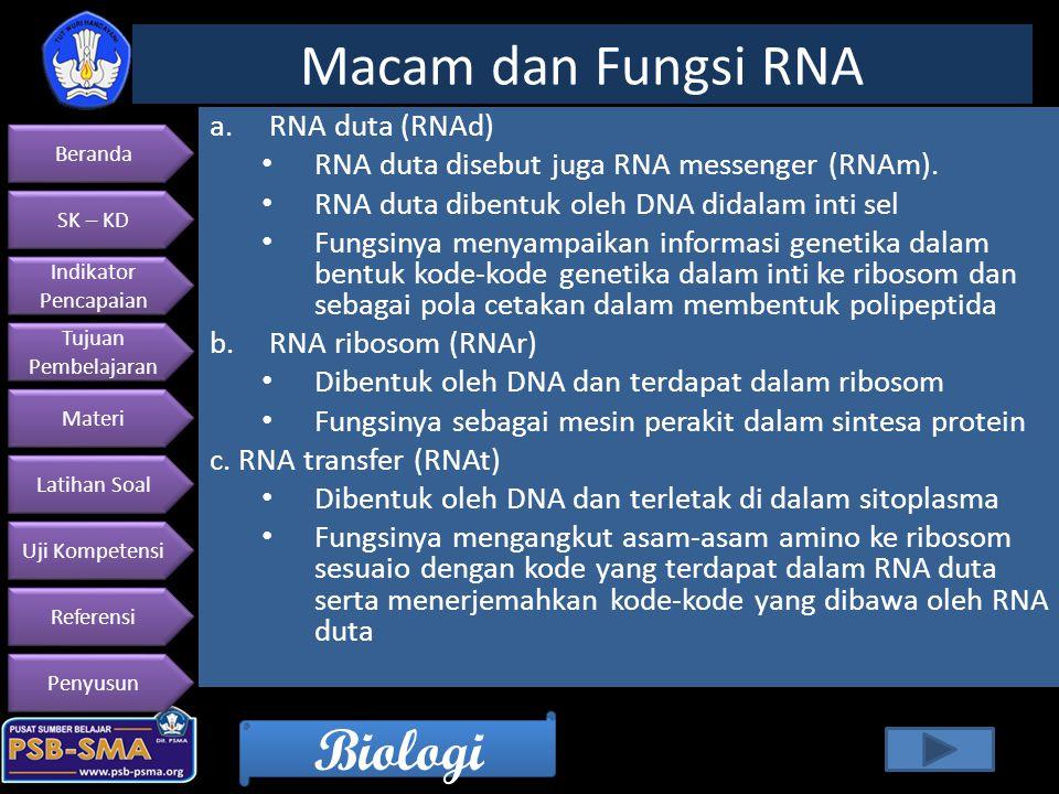 Beranda SK – KD Indikator Pencapaian Indikator Pencapaian Tujuan Pembelajaran Tujuan Pembelajaran Materi Latihan Soal Uji Kompetensi Referensi Penyusun Biologi a.RNA duta (RNAd) RNA duta disebut juga RNA messenger (RNAm).