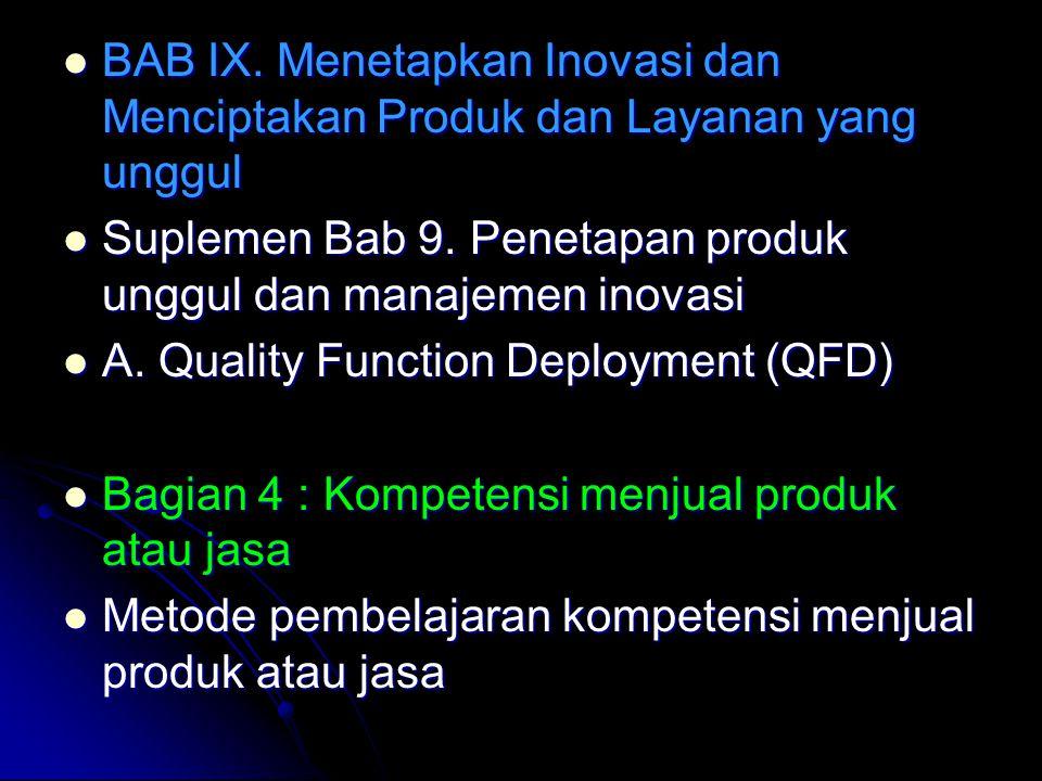 BAB IX. Menetapkan Inovasi dan Menciptakan Produk dan Layanan yang unggul BAB IX. Menetapkan Inovasi dan Menciptakan Produk dan Layanan yang unggul Su