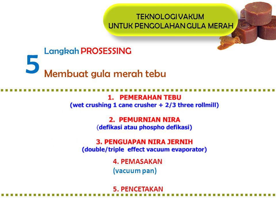 TEKNOLOGI VAKUM UNTUK PENGOLAHAN GULA MERAH 5 Langkah PROSESSING Membuat gula merah tebu 4. PEMASAKAN (vacuum pan) 5. PENCETAKAN