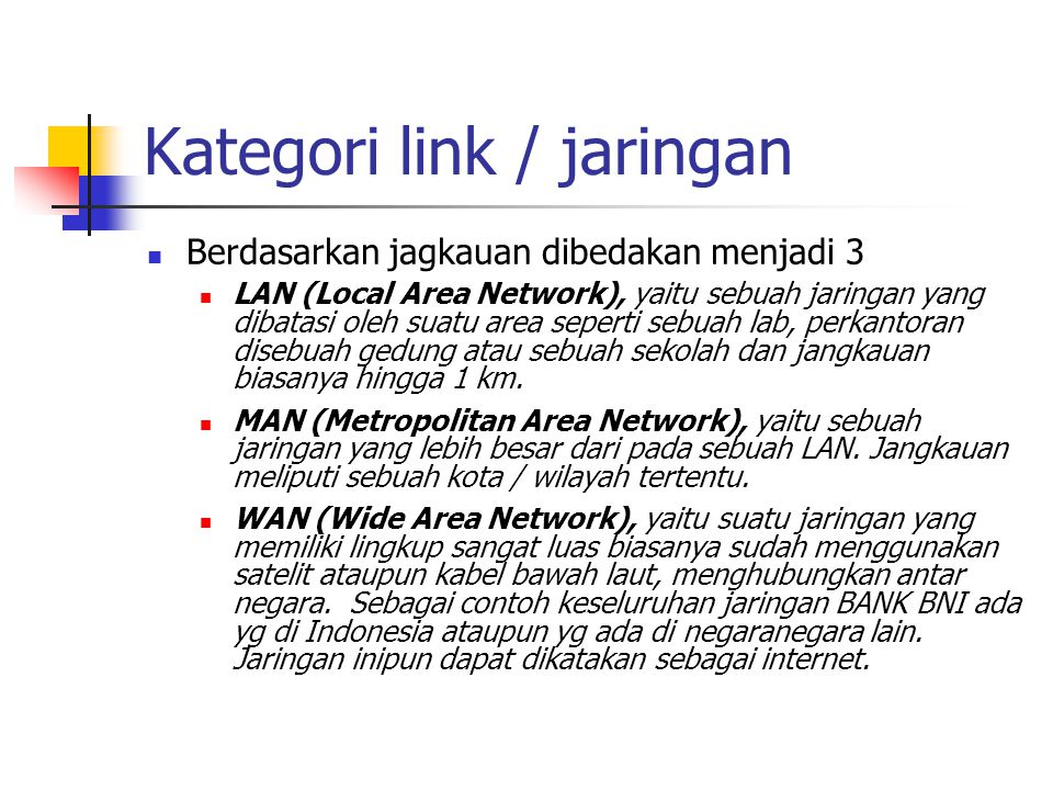 Beberapa Perbandingan Circuit Switched dan Packet Switched (1/2) Circuit switchedPacket Switched connectionless Packet Switched connection-oriented Dedicated transmission path No dedicated path Continuous transmission of data Transmission of packet Messages are not storedPacket may be stored until delivered Packet stored until delivered The path is established for entire conversation Route established for each packet Route established for entire packet Call setup delayPacket transmission delayCall setup delay; packet transmission delay Busy signal if called party busy Sender may be notified if packet not delivered Sender notified if connection denial Overload may block call setup Overload increases packet delay May block call setup; increases packet delay