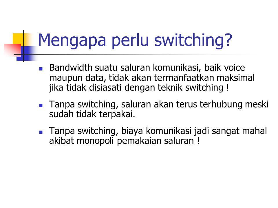 Beberapa prinsip switching Transmisi data/ informasi jarak jauh biasanya dilakukan melalui beberapa switching node yang saling terhubung sehingga membentuk suatu jaringan switching, atau dapat juga disebut jaringan komunikasi switched.