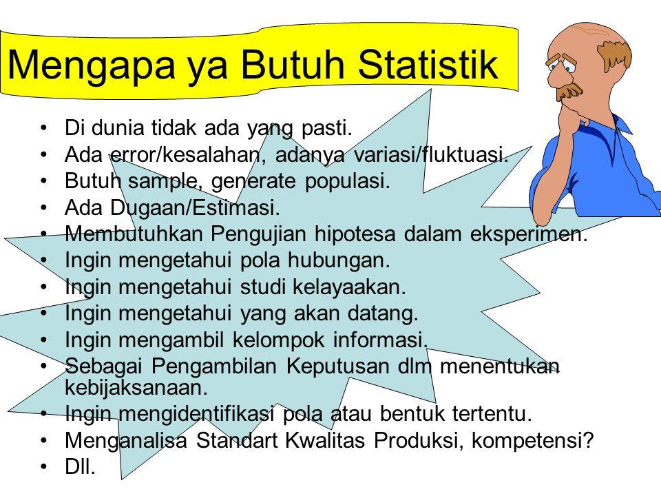Mengapa ya Butuh Statistik Di dunia tidak ada yang pasti.