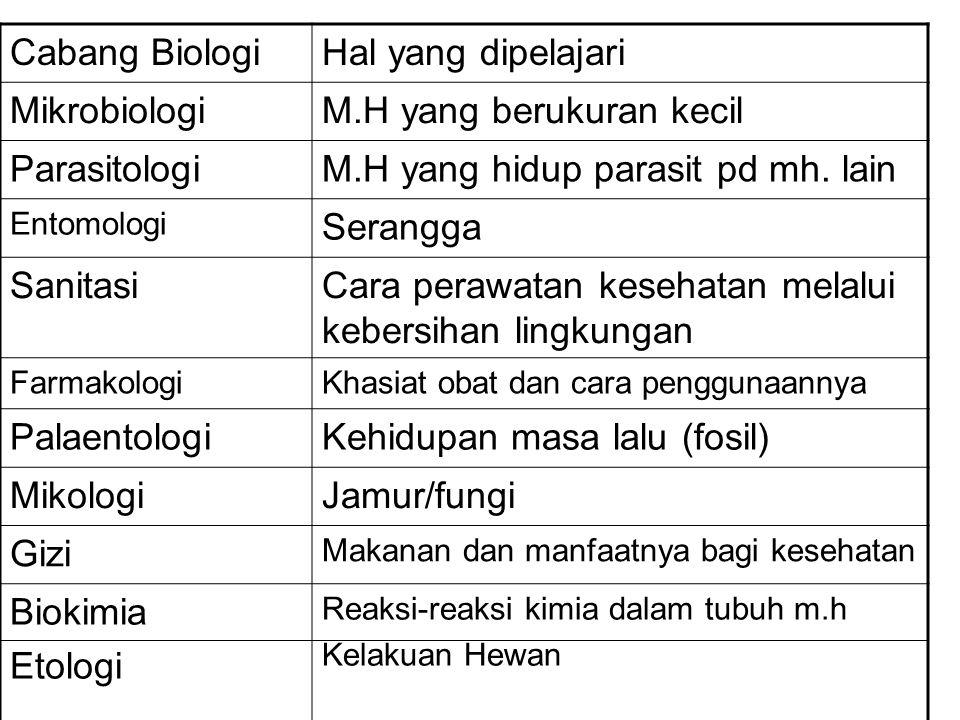 Cabang BiologiHal yang dipelajari MikrobiologiM.H yang berukuran kecil ParasitologiM.H yang hidup parasit pd mh. lain Entomologi Serangga SanitasiCara