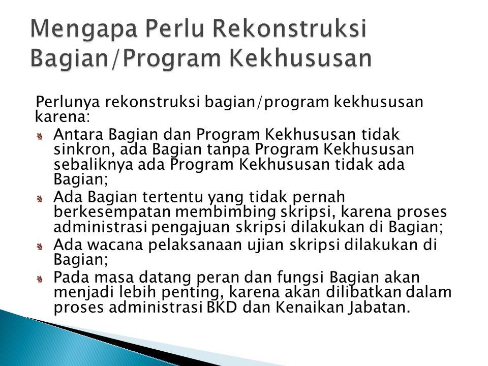 Perlunya rekonstruksi bagian/program kekhususan karena: Antara Bagian dan Program Kekhususan tidak sinkron, ada Bagian tanpa Program Kekhususan sebali