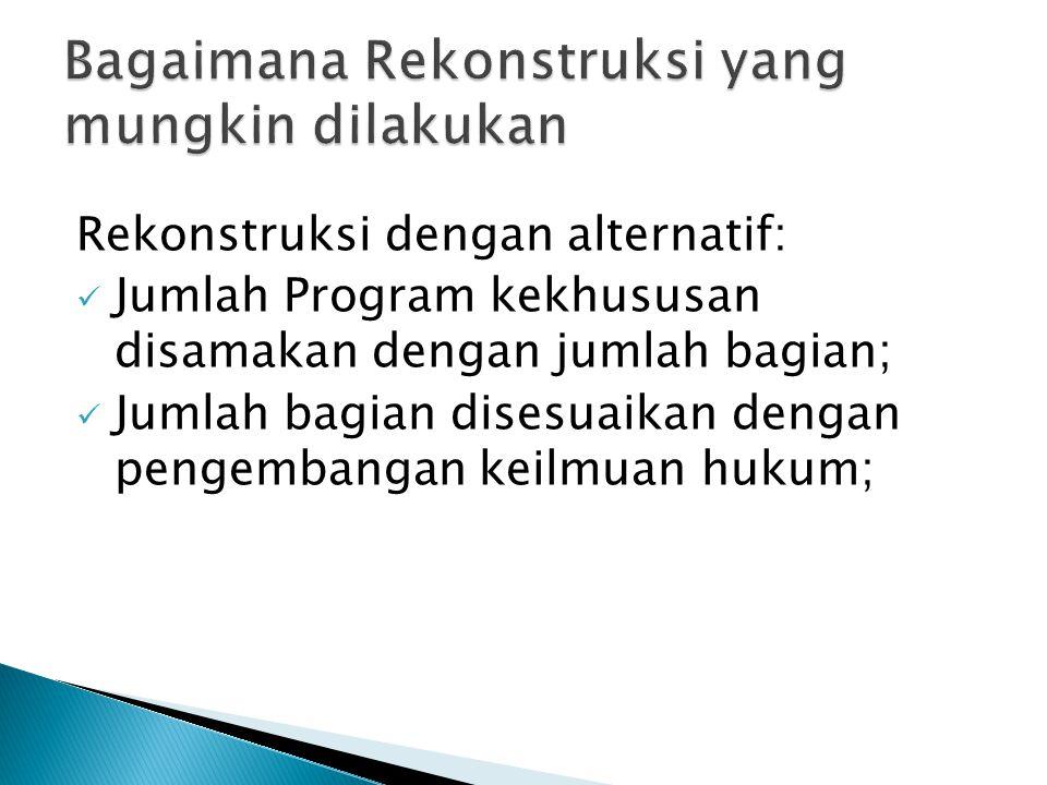 Rekonstruksi dengan alternatif: Jumlah Program kekhususan disamakan dengan jumlah bagian; Jumlah bagian disesuaikan dengan pengembangan keilmuan hukum