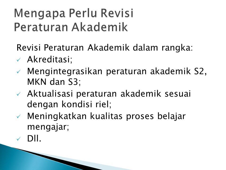 Revisi Peraturan Akademik dalam rangka: Akreditasi; Mengintegrasikan peraturan akademik S2, MKN dan S3; Aktualisasi peraturan akademik sesuai dengan k