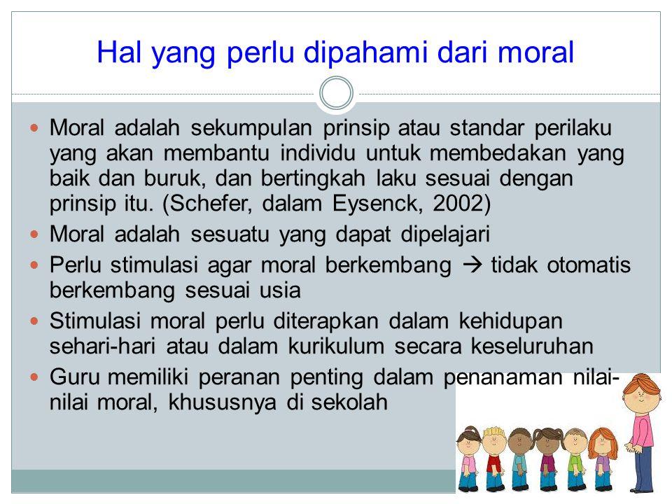 Hal yang perlu dipahami dari moral Moral adalah sekumpulan prinsip atau standar perilaku yang akan membantu individu untuk membedakan yang baik dan bu
