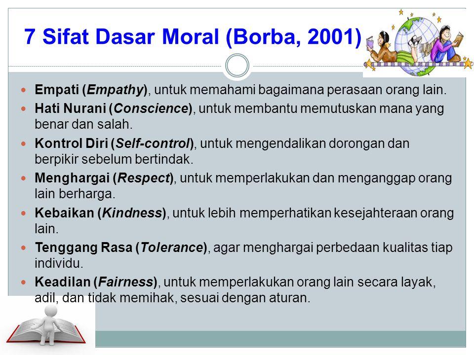 7 Sifat Dasar Moral (Borba, 2001) Empati (Empathy), untuk memahami bagaimana perasaan orang lain. Hati Nurani (Conscience), untuk membantu memutuskan