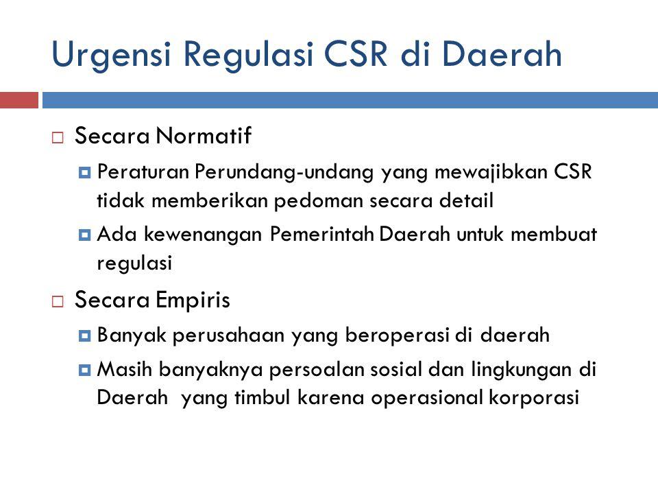 Urgensi Regulasi CSR di Daerah  Secara Normatif  Peraturan Perundang-undang yang mewajibkan CSR tidak memberikan pedoman secara detail  Ada kewenangan Pemerintah Daerah untuk membuat regulasi  Secara Empiris  Banyak perusahaan yang beroperasi di daerah  Masih banyaknya persoalan sosial dan lingkungan di Daerah yang timbul karena operasional korporasi