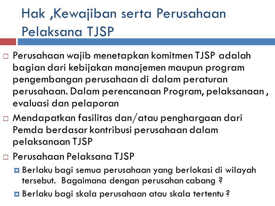 Hak,Kewajiban serta Perusahaan Pelaksana TJSP  Perusahaan wajib menetapkan komitmen TJSP adalah bagian dari kebijakan manajemen maupun program pengembangan perusahaan di dalam peraturan perusahaan.
