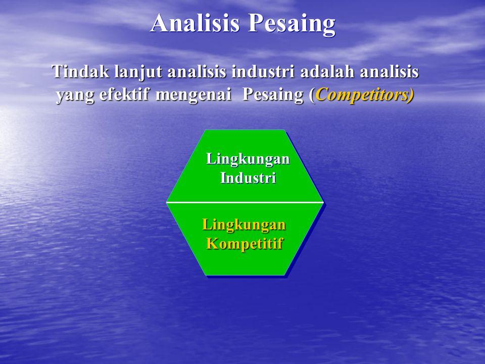 Analisis Pesaing Tindak lanjut analisis industri adalah analisis yang efektif mengenai Pesaing (Competitors) Lingkungan Kompetitif Lingkungan Industri