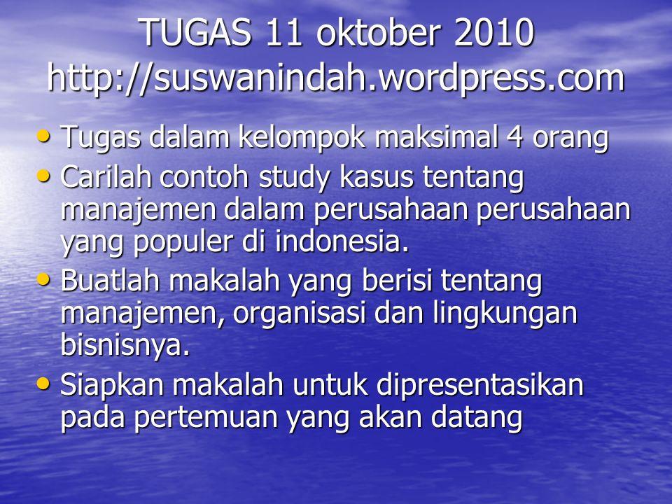 TUGAS 11 oktober 2010 http://suswanindah.wordpress.com Tugas dalam kelompok maksimal 4 orang Tugas dalam kelompok maksimal 4 orang Carilah contoh stud