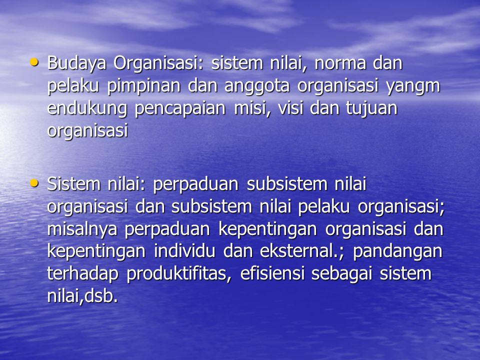 Budaya Organisasi: sistem nilai, norma dan pelaku pimpinan dan anggota organisasi yangm endukung pencapaian misi, visi dan tujuan organisasi Budaya Or