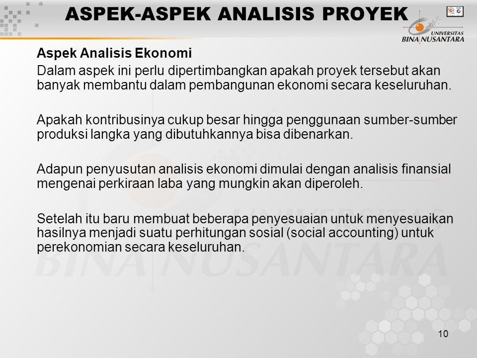 10 ASPEK-ASPEK ANALISIS PROYEK Aspek Analisis Ekonomi Dalam aspek ini perlu dipertimbangkan apakah proyek tersebut akan banyak membantu dalam pembangu