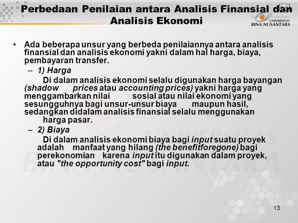13 Perbedaan Penilaian antara Analisis Finansial dan Analisis Ekonomi Ada beberapa unsur yang berbeda penilaiannya antara analisis finansial dan anali