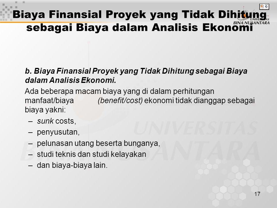 17 Biaya Finansial Proyek yang Tidak Dihitung sebagai Biaya dalam Analisis Ekonomi b. Biaya Finansial Proyek yang Tidak Dihitung sebagai Biaya dalam A