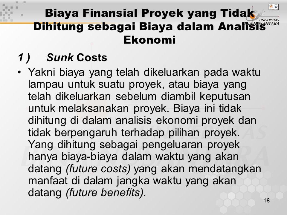 18 Biaya Finansial Proyek yang Tidak Dihitung sebagai Biaya dalam Analisis Ekonomi 1 )Sunk Costs Yakni biaya yang telah dikeluarkan pada waktu lampau