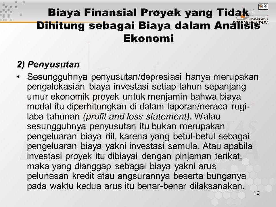 19 Biaya Finansial Proyek yang Tidak Dihitung sebagai Biaya dalam Analisis Ekonomi 2) Penyusutan Sesungguhnya penyusutan/depresiasi hanya merupakan pe