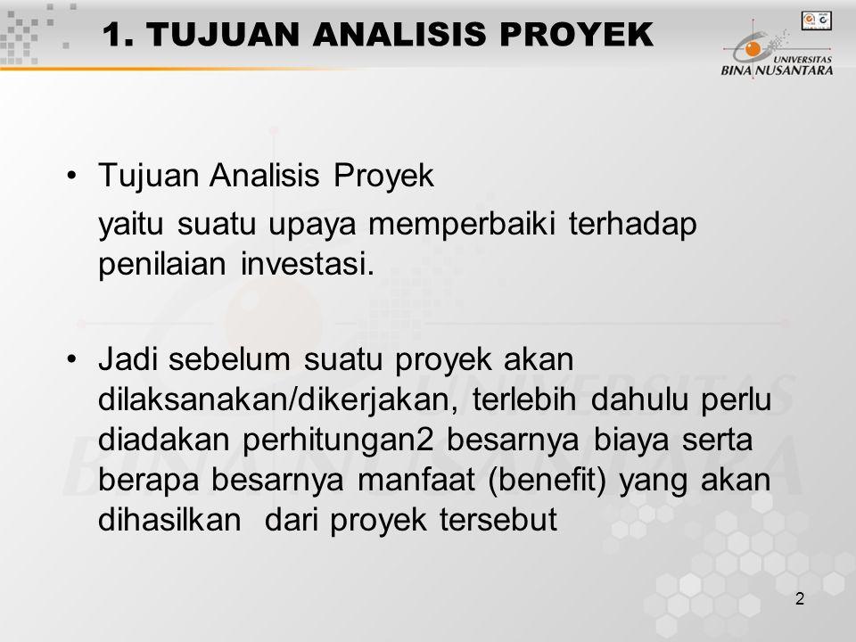 2 1. TUJUAN ANALISIS PROYEK Tujuan Analisis Proyek yaitu suatu upaya memperbaiki terhadap penilaian investasi. Jadi sebelum suatu proyek akan dilaksan