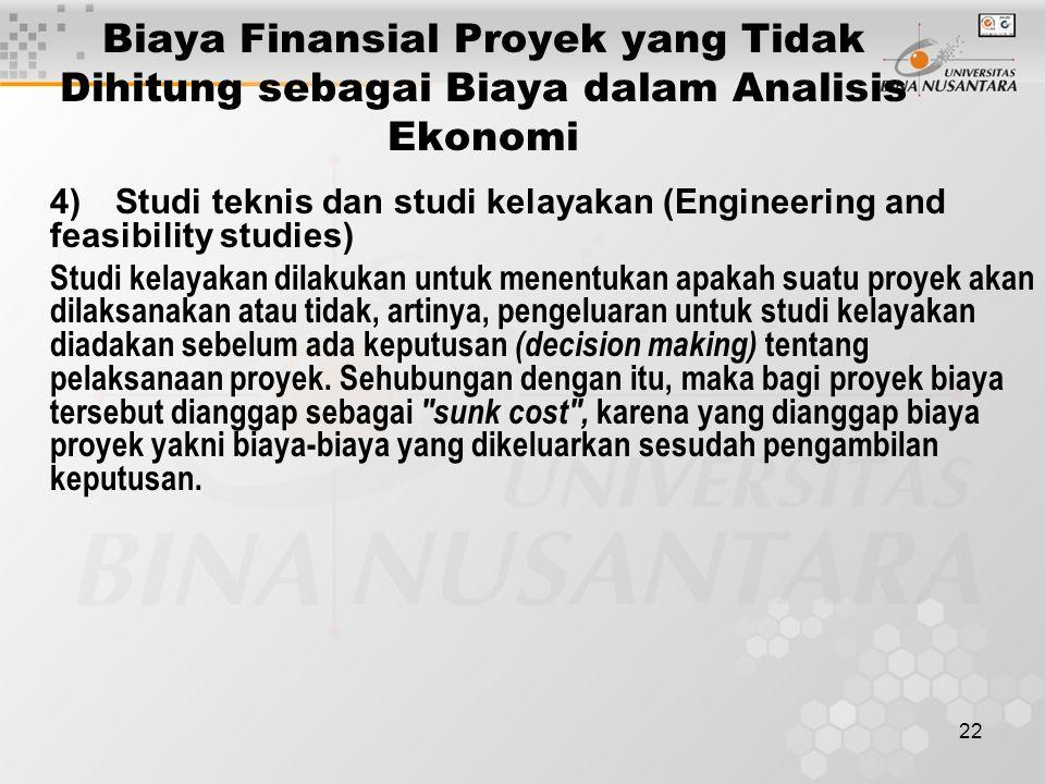 22 Biaya Finansial Proyek yang Tidak Dihitung sebagai Biaya dalam Analisis Ekonomi 4)Studi teknis dan studi kelayakan (Engineering and feasibility stu