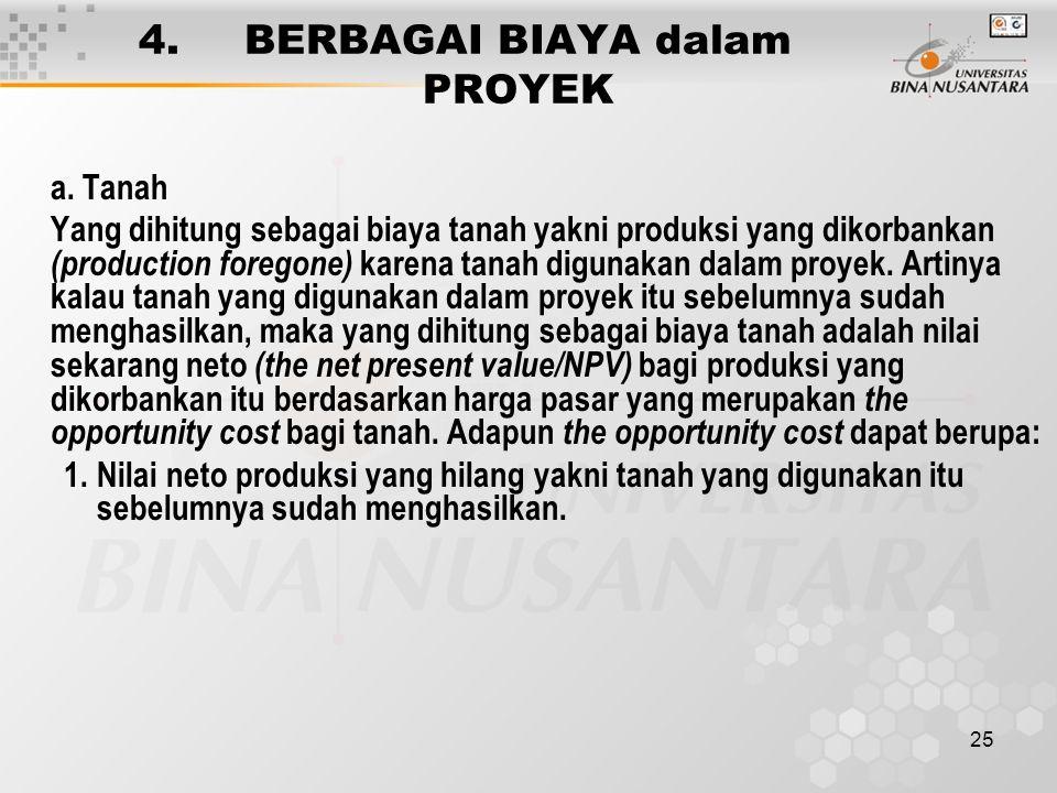 25 4. BERBAGAI BIAYA dalam PROYEK a. Tanah Yang dihitung sebagai biaya tanah yakni produksi yang dikorbankan (production foregone) karena tanah diguna