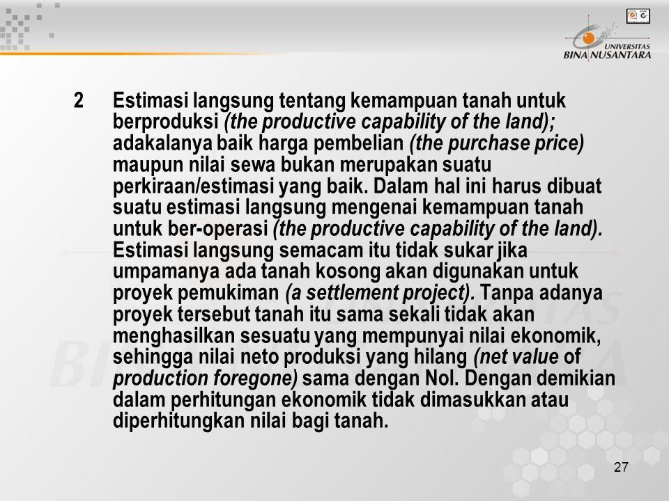 27 2 Estimasi langsung tentang kemampuan tanah untuk berproduksi (the productive capability of the land); adakalanya baik harga pembelian (the purchas
