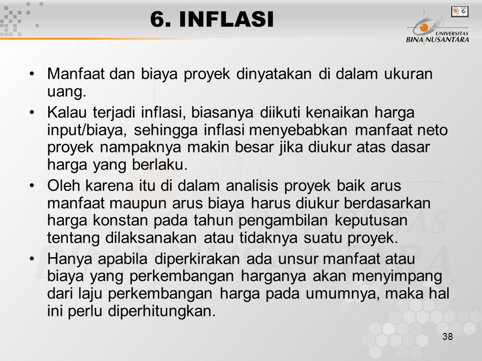 38 6. INFLASI Manfaat dan biaya proyek dinyatakan di dalam ukuran uang. Kalau terjadi inflasi, biasanya diikuti kenaikan harga input/biaya, sehingga i