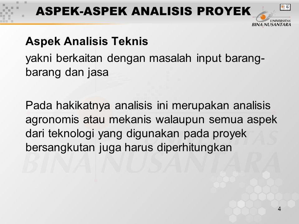 4 ASPEK-ASPEK ANALISIS PROYEK Aspek Analisis Teknis yakni berkaitan dengan masalah input barang- barang dan jasa Pada hakikatnya analisis ini merupaka