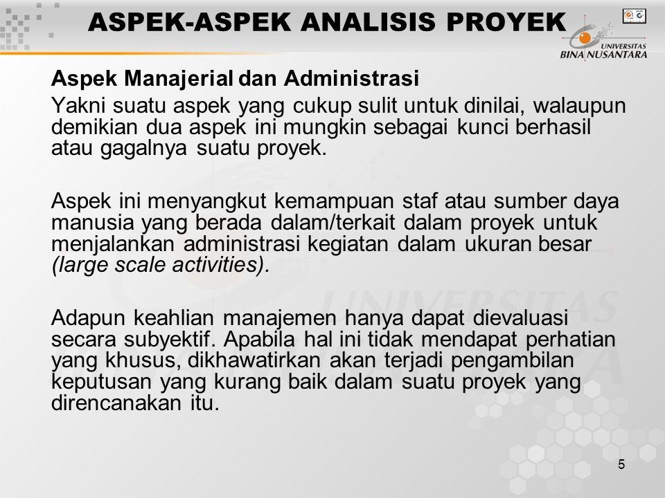 5 ASPEK-ASPEK ANALISIS PROYEK Aspek Manajerial dan Administrasi Yakni suatu aspek yang cukup sulit untuk dinilai, walaupun demikian dua aspek ini mung