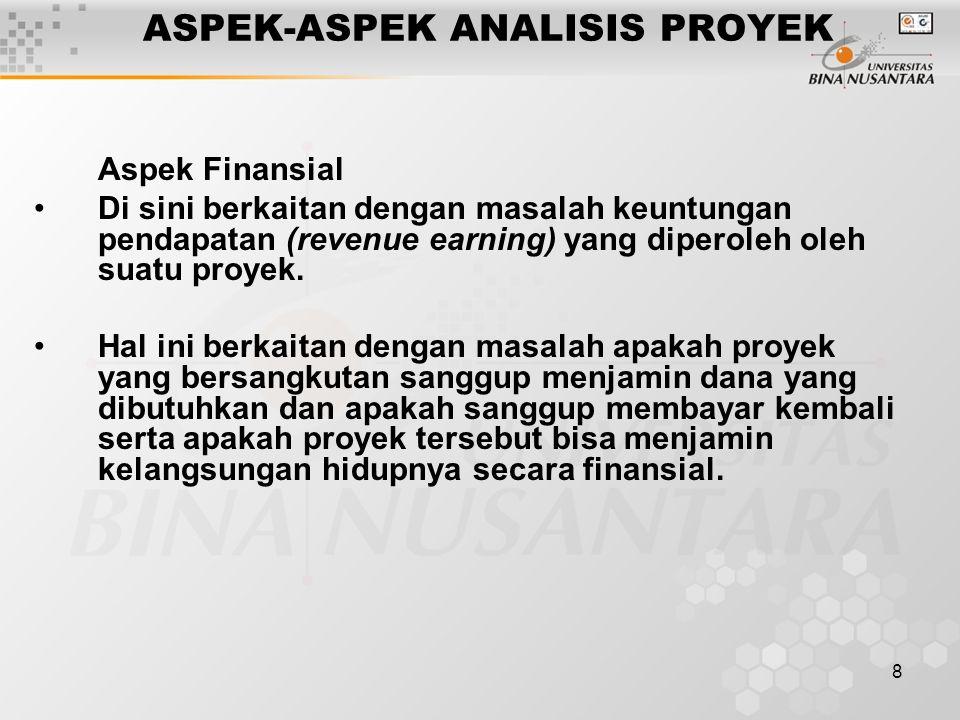 8 ASPEK-ASPEK ANALISIS PROYEK Aspek Finansial Di sini berkaitan dengan masalah keuntungan pendapatan (revenue earning) yang diperoleh oleh suatu proye