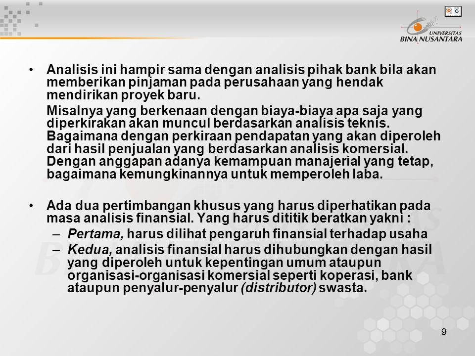 9 Analisis ini hampir sama dengan analisis pihak bank bila akan memberikan pinjaman pada perusahaan yang hendak mendirikan proyek baru. Misalnya yang