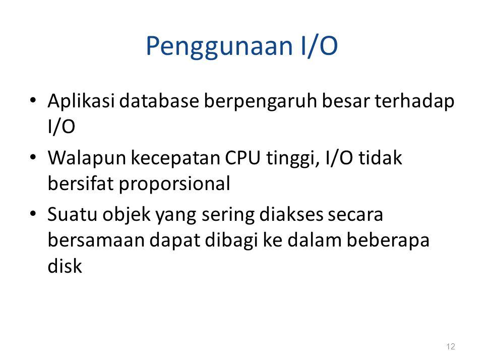 Penggunaan I/O Aplikasi database berpengaruh besar terhadap I/O Walapun kecepatan CPU tinggi, I/O tidak bersifat proporsional Suatu objek yang sering