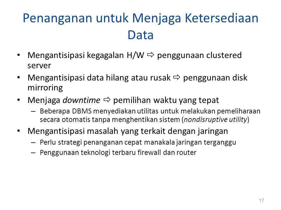 Penanganan untuk Menjaga Ketersediaan Data Mengantisipasi kegagalan H/W  penggunaan clustered server Mengantisipasi data hilang atau rusak  pengguna
