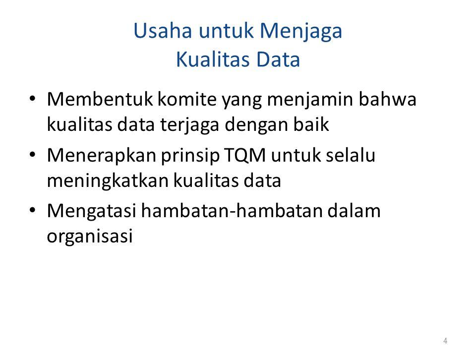 Data Dictionary dan Repository Data dictionary merupakan istilah lama dan repository adalah istilah yang lebih baru Data dictionary: Tempat penyimpanan informasi tentang database yang mendokumentasikan elemen-elemen data dalam database Repository: Istilah baru yang fungsinya lebih kompleks daripada data dictionary 5
