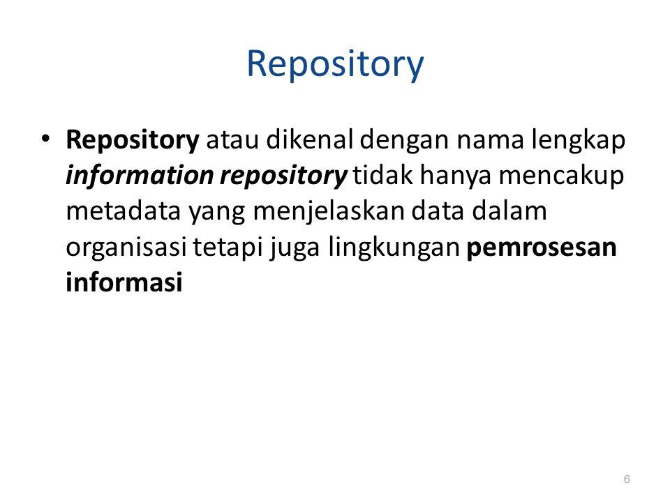 IRDS IRDS (Information Repository Dictionary System) : S/W yang digunakan untuk mengelola dan mengontrol akses terhadap information repository IRDS menyediakan fasilitas untuk menyimpan dan memproses deskripsi data dan sumber pemrosesan data Sistem yang mengikuti IRDS dapat mentransfer definisi data yang dihasilkan oleh berbagai produk IRDS menjadi standar ISO (1990) 7