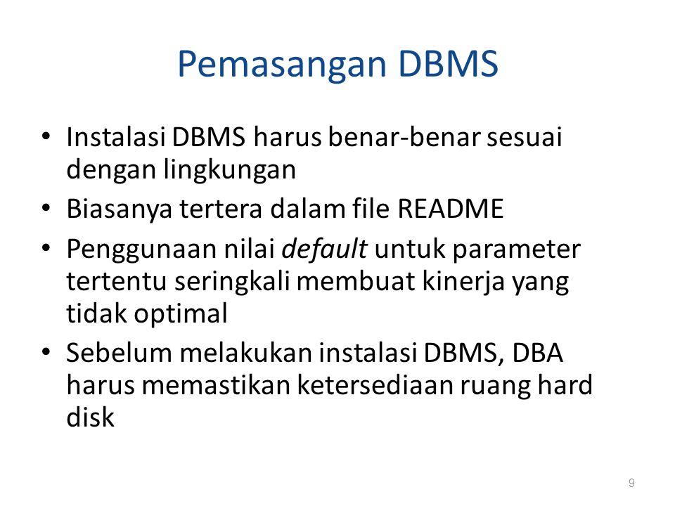 Pemasangan DBMS (Lanjutan…) Baca manual DBMS untuk menerjemahkan parameter ukuran database secara logis (seperti panjang field, jumlah baris tabel, dan perkiraan pertumbuhan data) ke dalam kebutuhan ruang fisik Alokasi ruang disk untuk database perlu mendapat perhatian.