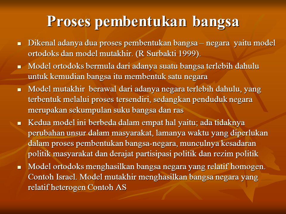 Proses pembentukan bangsa Dikenal adanya dua proses pembentukan bangsa – negara yaitu model ortodoks dan model mutakhir. (R Surbakti 1999). Dikenal ad