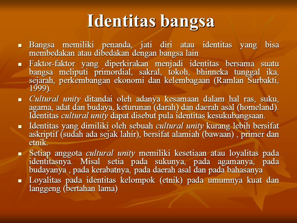 Identitas bangsa Bangsa memiliki penanda, jati diri atau identitas yang bisa membedakan atau dibedakan dengan bangsa lain Bangsa memiliki penanda, jat