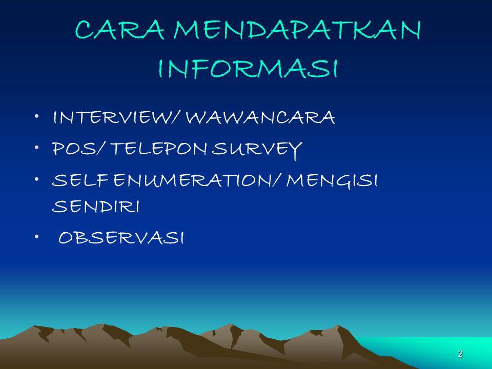 2 CARA MENDAPATKAN INFORMASI INTERVIEW/ WAWANCARA POS/ TELEPON SURVEY SELF ENUMERATION/ MENGISI SENDIRI OBSERVASI