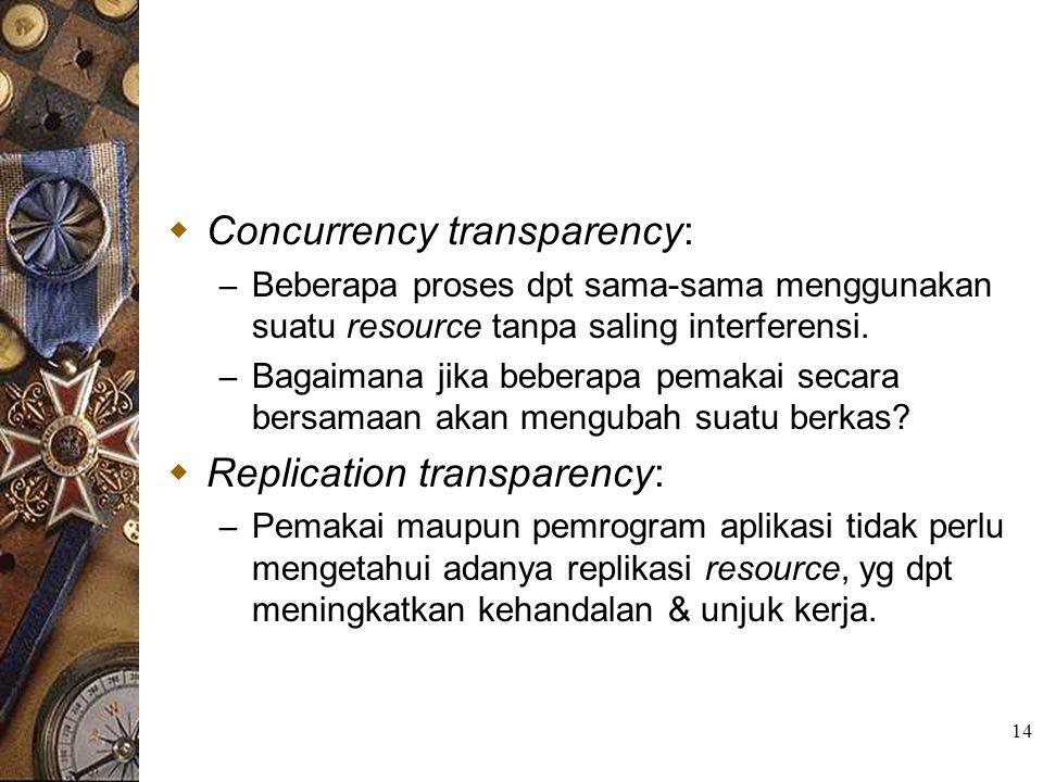 14  Concurrency transparency: – Beberapa proses dpt sama-sama menggunakan suatu resource tanpa saling interferensi. – Bagaimana jika beberapa pemakai