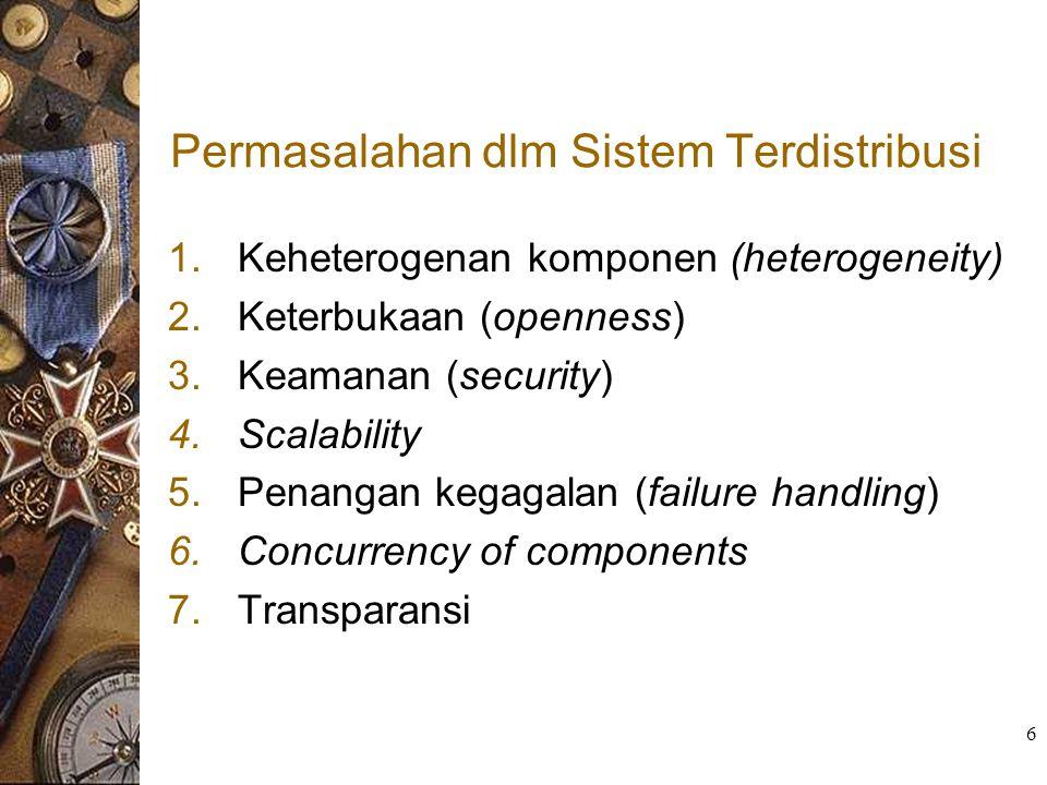 6 Permasalahan dlm Sistem Terdistribusi 1.Keheterogenan komponen (heterogeneity) 2.Keterbukaan (openness) 3.Keamanan (security) 4.Scalability 5.Penang